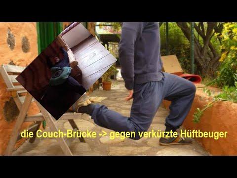 Übung → Couch-Brücke → verkürzte Hüftbeuger * Loaded Stretching * Quadrizeps + Gesäßmuskeln aufbauen