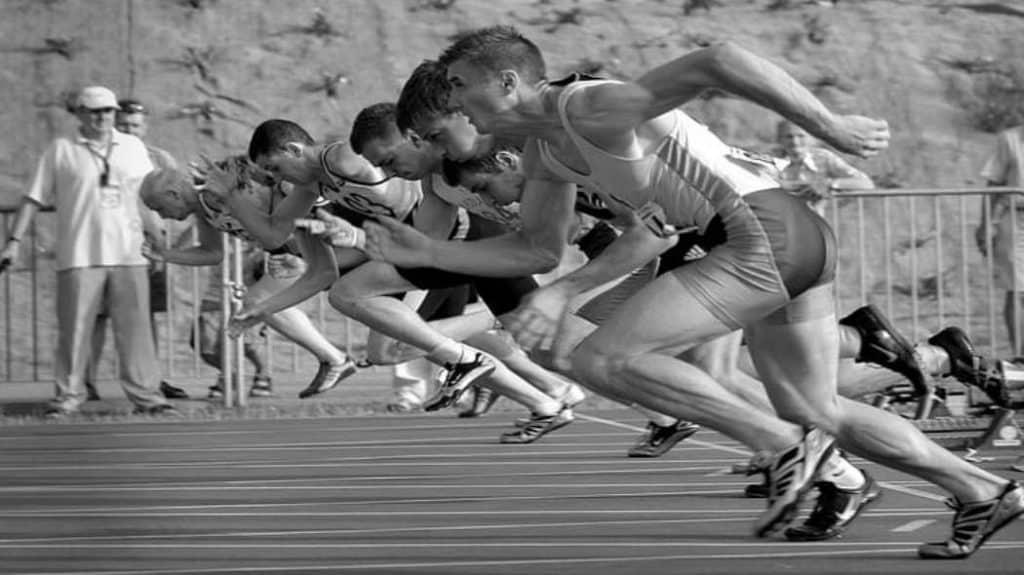 Männer am Sprintstart